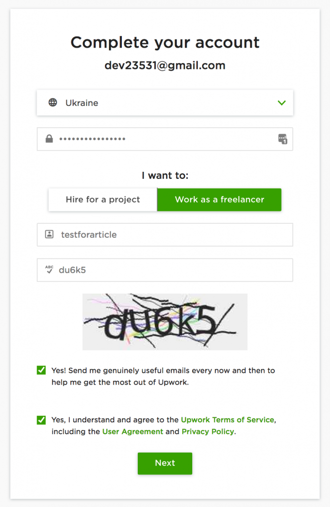 Upwork Registration: Email & Name