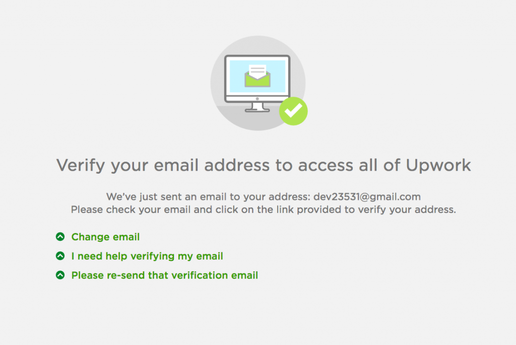 Upwork Registration: Email confirmation