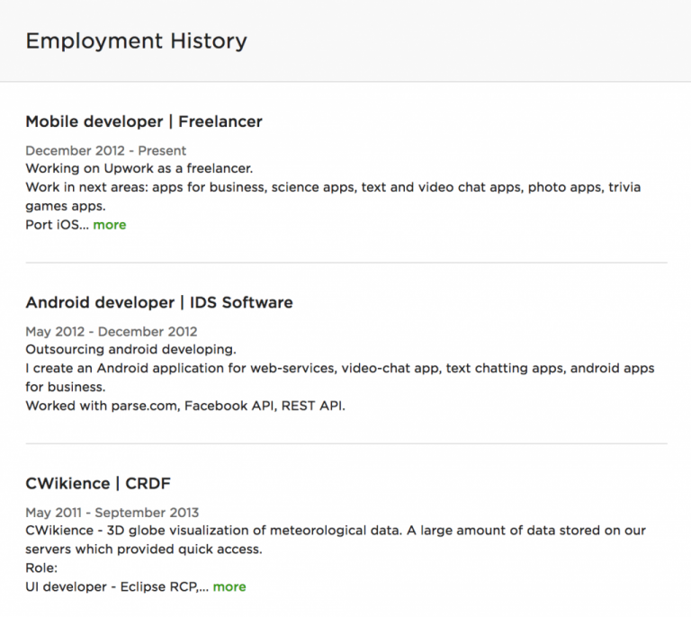 Upwork profile employment history